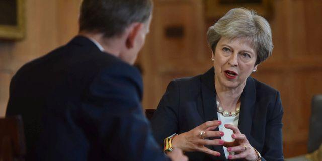 """Theresa May intervjuades även i BBC:s """"Marr Show"""" på söndagen. HANDOUT / TT NYHETSBYRÅN"""