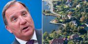 Stefan Löfven/flygbild över Djursholm.  TT.