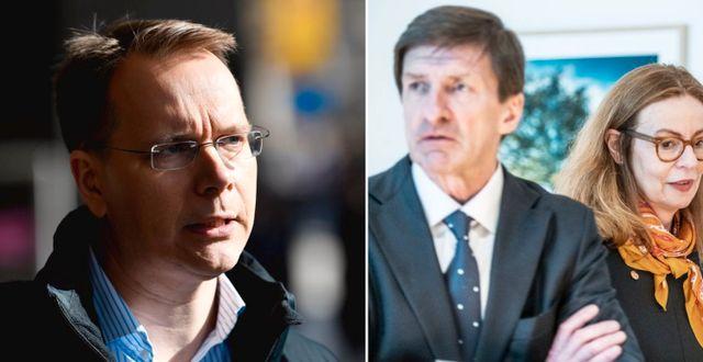 Aktiespararnas Joacim Olsson till vänster och Swedbanks tidigare vd Birgitte Bonnesen ordförande Lars Idermark till höger. TT