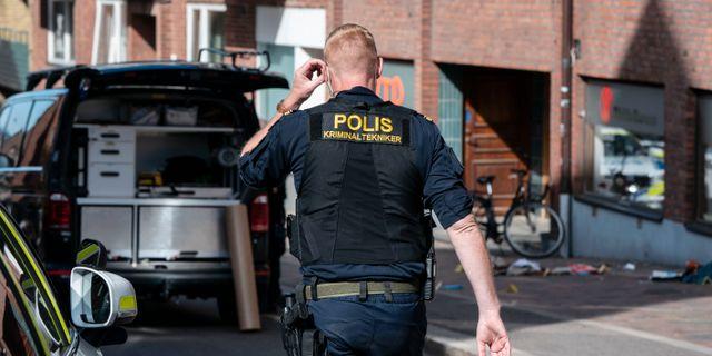 Polisens insats i området. Johan Nilsson/TT / TT NYHETSBYRÅN