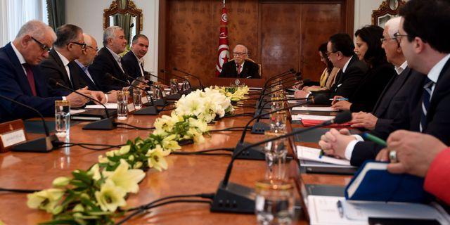 President Beji Caid Essebsi under mötet. FETHI BELAID / AFP