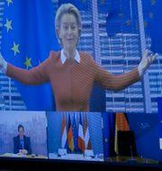 EU-chefen Ursula von der Leyen höll tal via videolänk på tisdagen. Olivier Hoslet / TT NYHETSBYRÅN