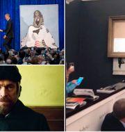 """Porträtten av Barack och Michelle Obama/ur filmen """"At eternity's gate""""/Banksys verk som han lät strimla. TT"""