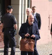Justitie- och migrationsminister Morgan Johansson (S) utanför statsministerns bostad Sagerska huset.  Nils Petter Nilsson / TT / TT NYHETSBYRÅN