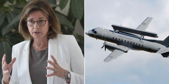 Ministern för internationellt utvecklingssamarbete och klimat, Isabella Lövin (MP)/En Saab 340AEW med en Ericsson Erieye radar.  TT
