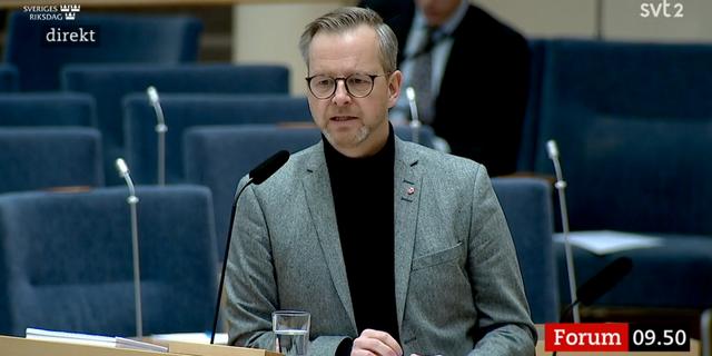 Mikael Damberg under dagens debatt. SVT