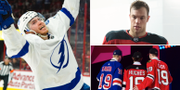 Tampa Bay Lightnings måltjuv Brayden Point, New Jerseys superstjärna Taylor Hall och bild från årets NHL-draft. Bildbyrån