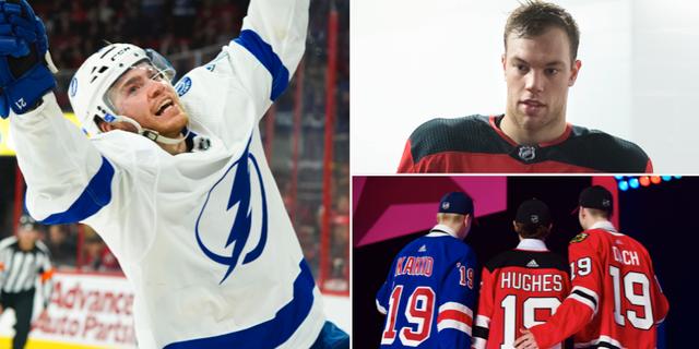 Tampa Bay Lightnings måltjuv Brayden Point, New Jerseys superstjärna Taylor Hall och bild från årets NHL-draft. Bildbyrån