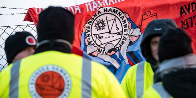lockan sju på onsdagsmorgonen inleddes Svenska Hamnarbetarförbundets strejk i flera hamnar runt om i Sverige. Johan Nilsson/TT / TT NYHETSBYRÅN