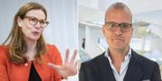 Swedbanks vd Birgitte Bonnesen och sparekonom Joakim Bornold. TT NYHETSBYRÅN.