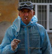 Ukrainsk sjukvårdare.  Andriy Andriyenko / TT NYHETSBYRÅN