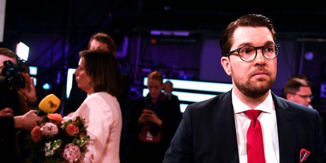 Jimmie Åkesson (SD) efter SVT:s partiledardebatt i höstas.  Pontus Lundahl/TT / TT NYHETSBYRÅN