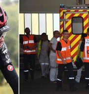 Chris Froome/ambulansen anländer till sjukhuset. TT