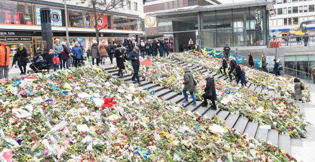 Ett hav av blommor på trappan till Sergelstorg ett par dagar efter terrorattacken den 7 april 2017.  Fredrik Sandberg/TT / TT NYHETSBYRÅN
