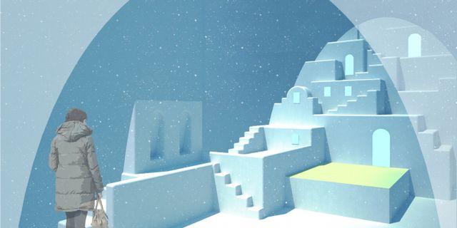 """Rummet """"White Santorini"""" är designat av Haemee Han från Sydkorea/USA och Jaeyual Lee från USA. Icehotel"""