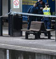 Polis på plats vid Lunds centralstation. Johan Nilsson/TT / TT NYHETSBYRÅN