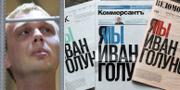 Ryske journalisten Ivan Golunov och dagens förstasidor i Ryssland. TATYANA MAKEYEVA / TT NYHETSBYRÅN