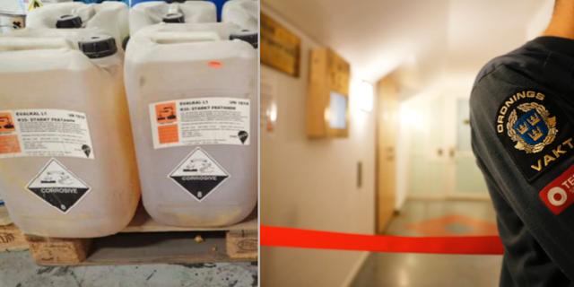Beslagtagna kemikalier / Ordningsvakt utanför Säkerhetssalen i Stockholm TT