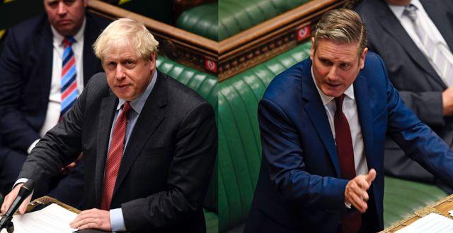 Boris Johnson och Keir Starmer i underhuset igår. TT