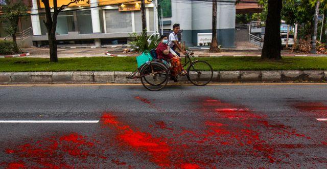 Demonstranter har kastat röd färg på vägarna. TT NYHETSBYRÅN