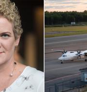 Karin Wanngård (S) samt en bild från Bromma flygplats. Arkivbilder.