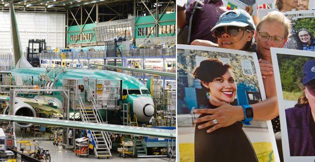 Boeing-fabriken i Renton, Washington. Anhöriga till offer ombord Boeing 737 Max 8-planet som störtade i Etiopien i mars i år. Arkivbilder. TT