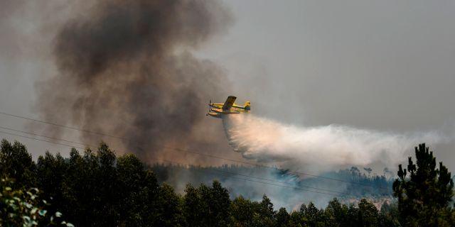 Släckningsarbetet pågår. PATRICIA DE MELO MOREIRA / AFP