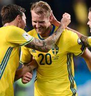 Ola Toivonen, Victor Lindelöf och Mikael Lustig. Marcus Ericsson/TT / TT NYHETSBYRÅN