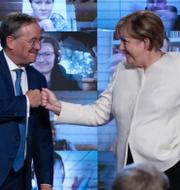 Gemensamt kampanjmöte för Armin Laschet och Angela Merkel på fredagen/Olaf Scholz kampanjmöte. TT
