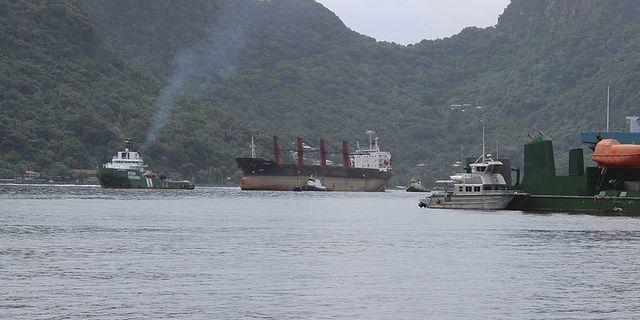 Det nordkoreanska fartyget Wise Honest (i mitten) beslagstogs av USA. AP