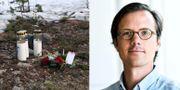 Blommor och ljus vid Ängskolan i Skene och en bild på Filip Arnberg, docent i klinisk psykologi. TT och Uppsala Universitet