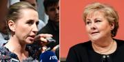 Danmarks statsministern Mette Fredriksen och Norges Erna Solberg. TT