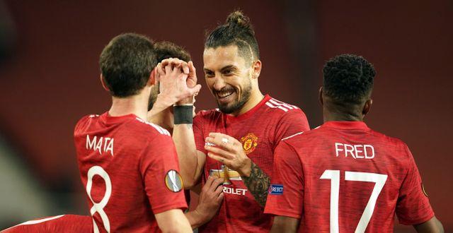 Manchester United firar. Dave Thompson / TT NYHETSBYRÅN