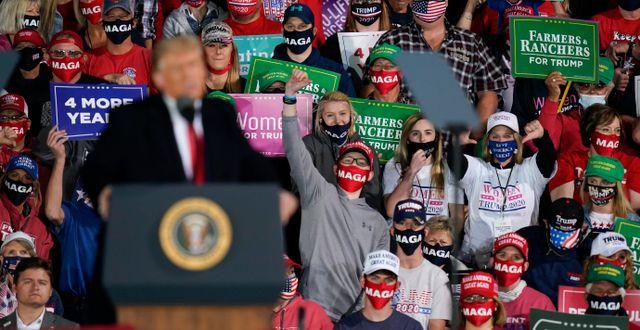 Trump under ett kampanjmöte i Iowa i onsdags. Charlie Neibergall / TT NYHETSBYRÅN