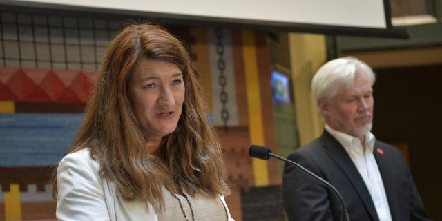 Nyvalda LO-ordföranden Susanna Gideonsson.  Anders Wiklund/TT / TT NYHETSBYRÅN