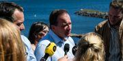 Statsminister Stefan Löfven håller pressträff på Hasslö i Blekinge skärgård på måndagen. Johan Nilsson/TT / TT NYHETSBYRÅN