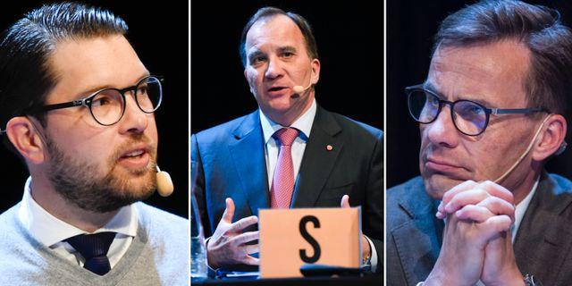 Jimmie Åkesson (SD), Stefan Löfven (S), Ulf Kristersson (M) TT