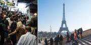 Arkivbilder från tågstation respektive Paris.  TT.