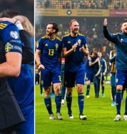 Janne Andersson omfamnar Andreas Granqvist efter segern. Bildbyrån