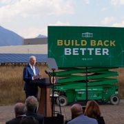 President Joe Biden speaks about infrastructure at the Flatirons campus of the National Renewable Energy Laboratory, Tuesday, Sept. 14, 2021, in Arvanda, Colo. Evan Vucci / TT NYHETSBYRÅN