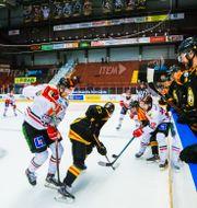 Monitor ERP Arena med tomma läktare under ishockeymatchen i SHL mellan Brynäs och Örebro den 12 mars 2020. KENTA JÖNSSON / BILDBYRÅN