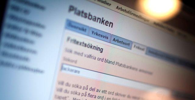 Platsbankens sajt. Simon Paulin / SvD / TT / TT NYHETSBYRÅN