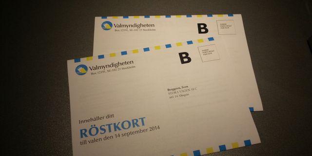 Kuvert med röstkort från valet 2014. Valmyndigheten