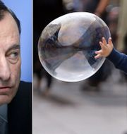 ECB-chefen Mario Draghi. Pojke jagar såpbubbla i Frankfurt, där även ECB:s kontor finns. TT