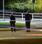 Polisen spärrade av platsen. Pontus Stenberg/TT / TT NYHETSBYRÅN