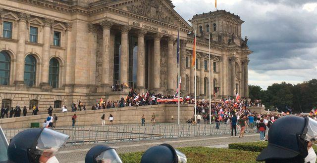 Demonstranter utanför riksdagshuset Lukas Dubro / TT NYHETSBYRÅN