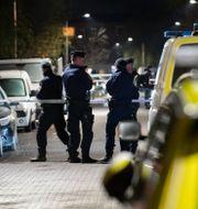 Polis på brottsplatsen Johan Nilsson/TT / TT NYHETSBYRÅN