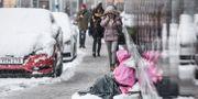 Arkivbild. En kvinna tigger på Västra järnvägsgatan i Stockholm. Lars Pehrson/SvD/TT / TT NYHETSBYRÅN