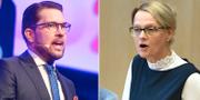 Sverigedemokraternas partiledare Jimmie Åkesson och migrationsminister Heléne Fritzon (S). TT