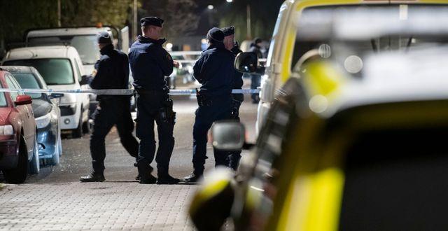 En 25-årig man sköts  till döds på Professorsgatan i området Hermodsdal i Malmö på måndagskvällen Johan Nilsson/TT / TT NYHETSBYRÅN